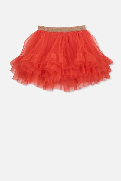 Trixiebelle Tulle Skirt, ENGINE RED/RUFFLES