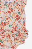 Alice Ruffle Bubbysuit, VANILLA/RED ORANGE LULU FLORAL