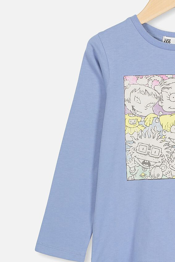 Rugrats Lux Long Sleeve Tee, LCN NIC DUSTY BLUE RUGRATS