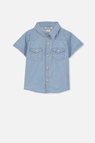 Zac Short Sleeve Shirt, LT CHAMBRAY