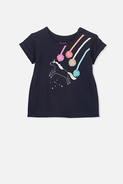 Ginger Ss Tee, TWILIGHT BLUE/UNICORN