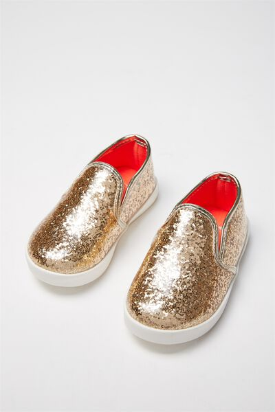 Mini Sienna Slip On, GOLD GLITTER