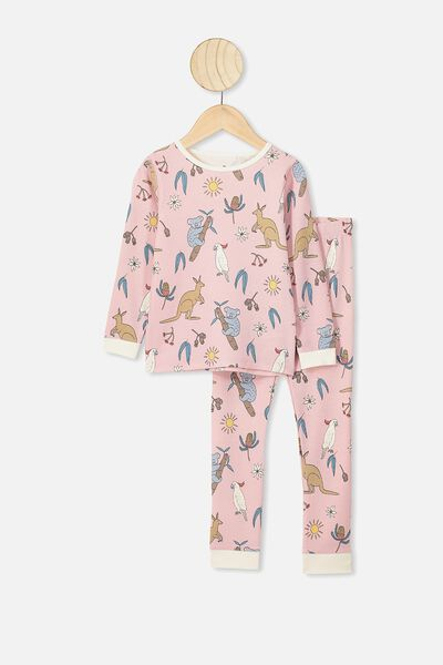 Shae Girls Long Sleeve Waffle Pyjama Set, PEACH WHIP/G AUSTRALIANA