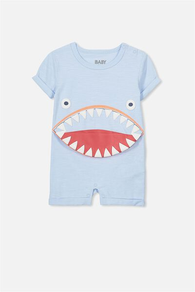 Jacob Ss Snap Romper, ARTIC BLUE SNOW WASH/SHARK MOUTH