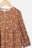 Ebony Long Sleeve Dress, AMBER BROWN/SPRIGGY FLORAL