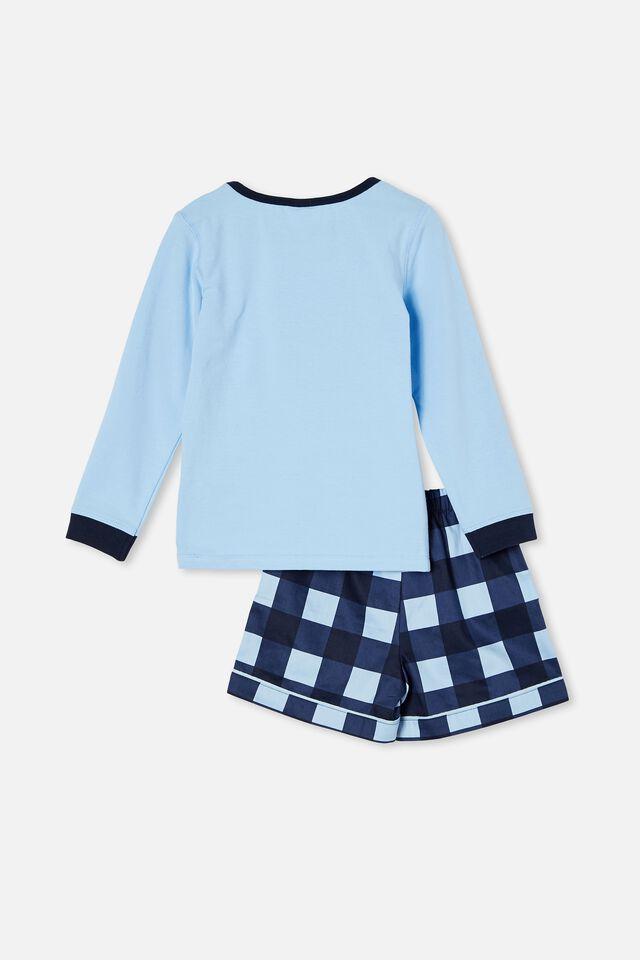 Harry Knit Woven Long Sleeve Pyjama Set, KOI FISH / SKY HAZE