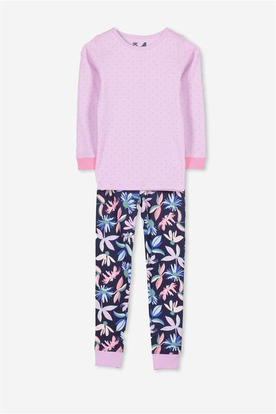 Kristen Girls Long Sleeve PJ Set, ABSTRACT FLORAL