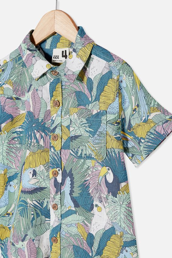 Resort Short Sleeve Shirt, TROPICAL BIRDS/RAINY DAY