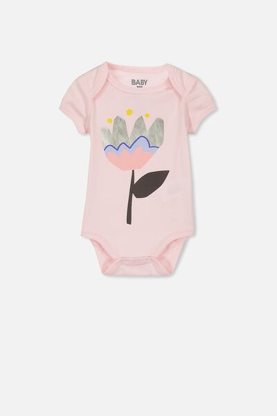 Mini Short Sleeve Bubby, BUBBLEGUM PINK/SCANDI FLOWER
