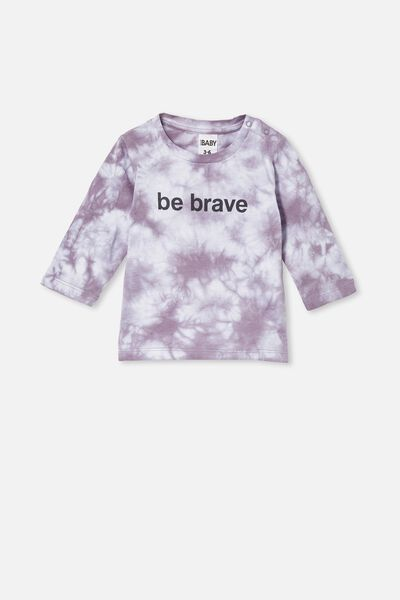 Jamie Long Sleeve Tee, DUSK PURPLE TIE DYE/BE BRAVE