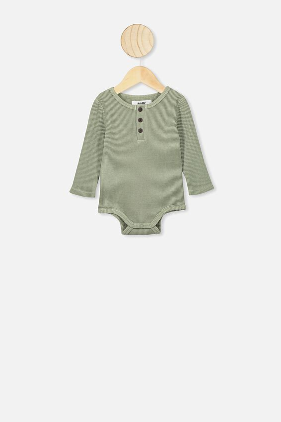 The Long Sleeve Waffle Bubbysuit, SILVER SAGE