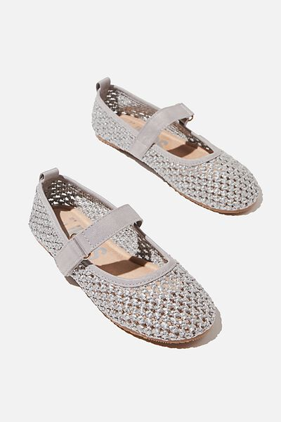 Kids Primo Ballet Flat, WINTER GREY WOVEN