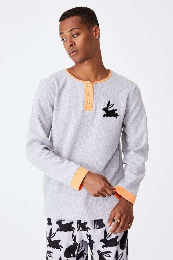 Jamie Adults Unisex Waffle Flanellette Long Sleeve, BUNNY SILHOUETTE/SUMMER GREY MARLE