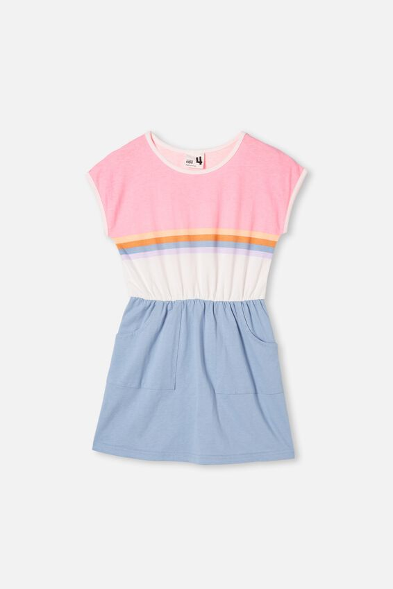 Sigrid Short Sleeve Dress, DUSTY BLUE/RETRO COLOUR BLOCK