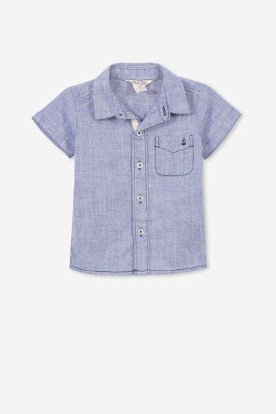 Zac Short Sleeve Shirt, BLUE OXFORD/SEA YOU
