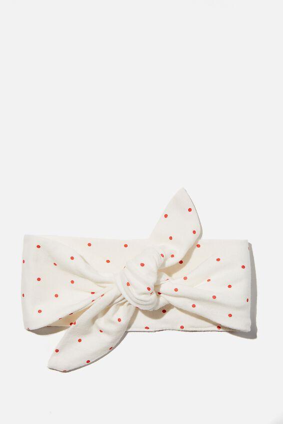 The Tie Headband, VANILLA/RED ORANGE JOY SPOT