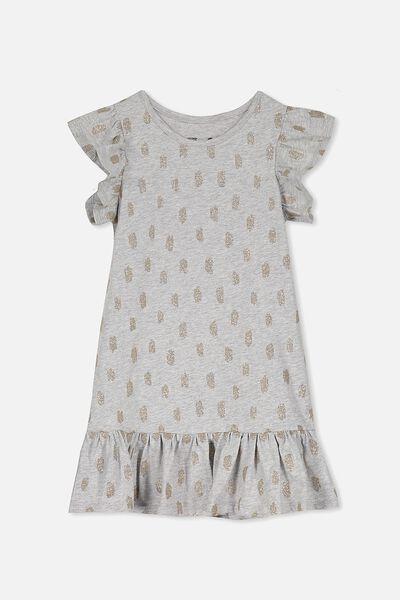 Ella Short Sleeve Dress, LIGHT GREY/GLITTER DABS