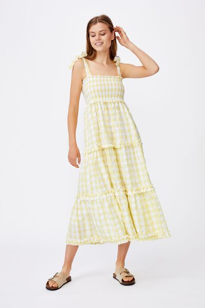 Mama Annie Sleeveless Dress, LEMON DROP GINGHAM