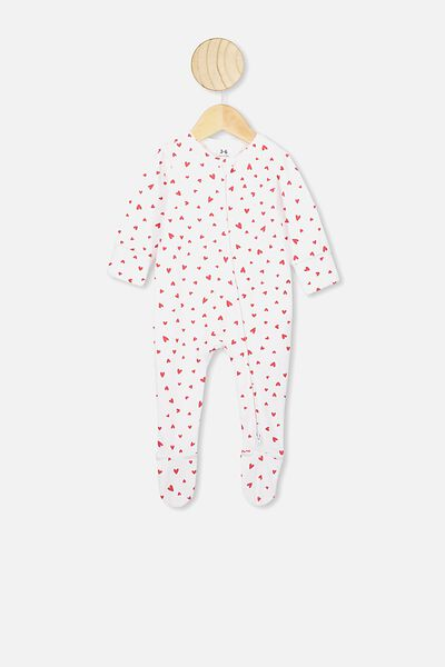 The Long Sleeve Zip Romper, WHITE/RED HEARTS