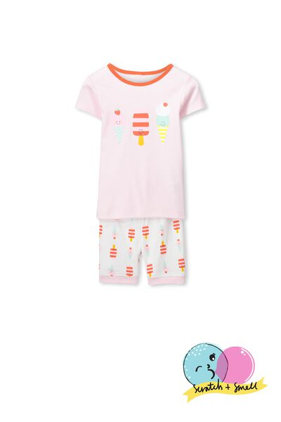 Chloe Short Sleeve Girls Pj Set, SCRATCH & SMELL ICE CREAM TREATS