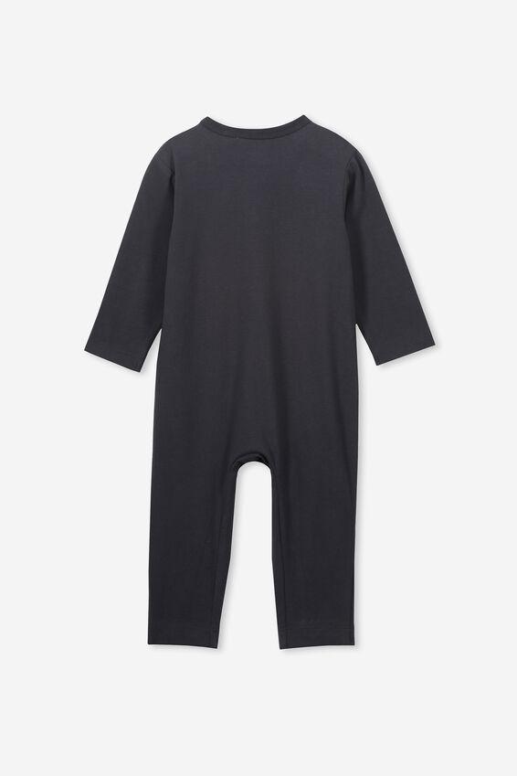 The Long Sleeve Snap Romper, BLACK/SKELETON