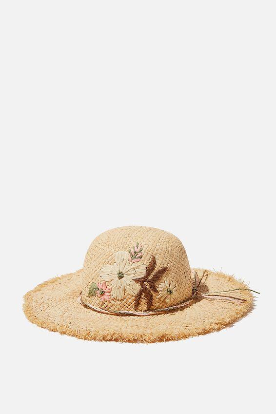 Floppy Hat Embroidered, FLOWER