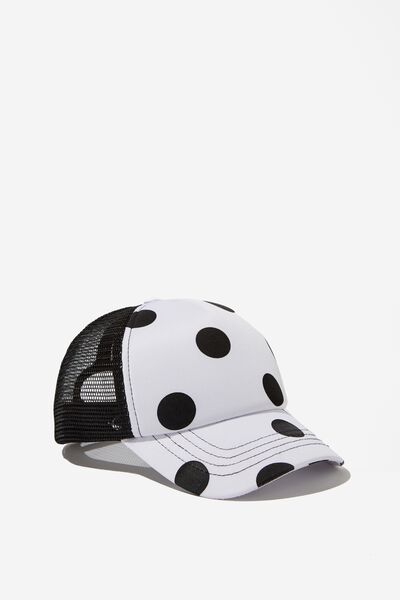 Kids Trucker Cap, WHITE/BLACK SPOTS