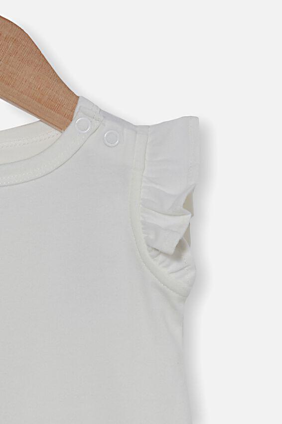 The Sleeveless Ruffle Bubbysuit, VANILLA