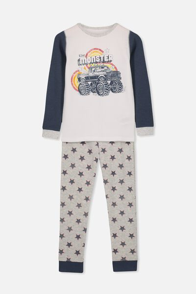Jack Boys Long Sleeve Waffle Pyjama Set, MONSTER TRUCK