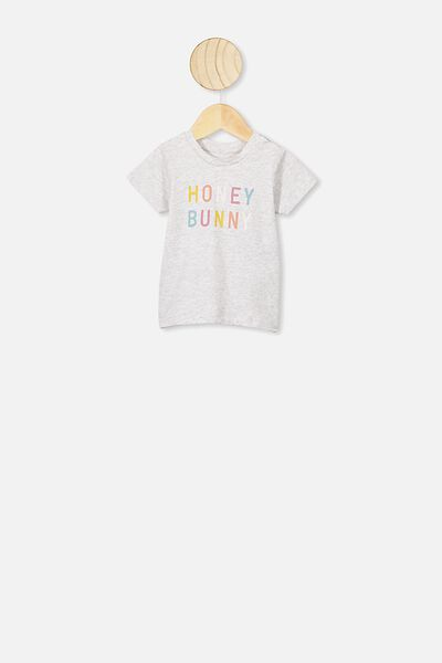 Jamie Short Sleeve Tee, GREY MARLE/HONEY BUNNY