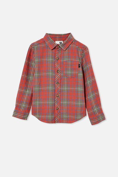 Rugged Long Sleeve Shirt, RED PLAID CHECK