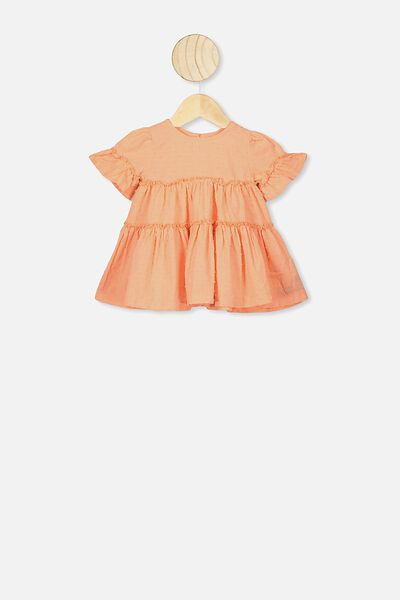 Abby Flutter Dress, PASTEL PEACH