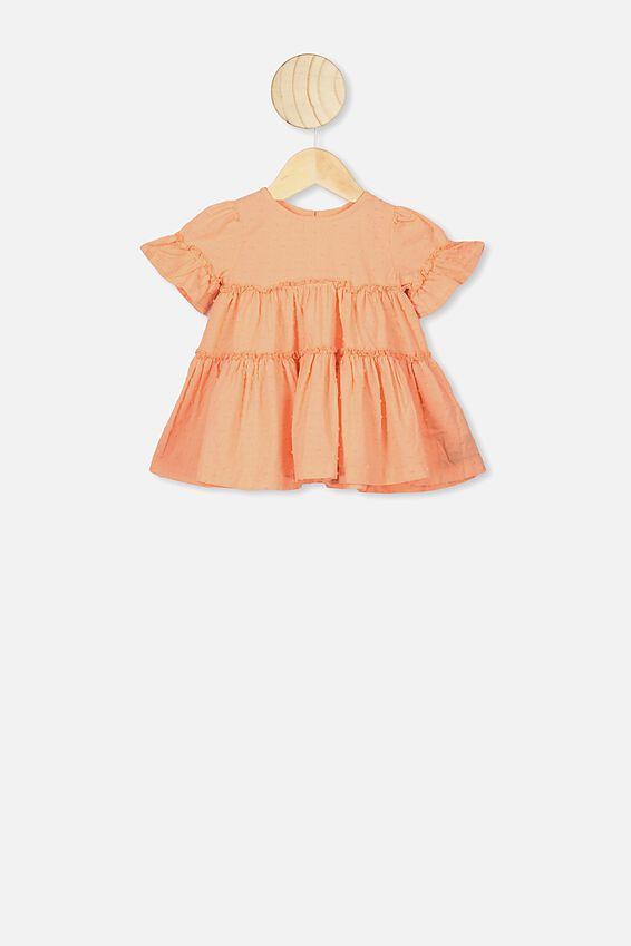 Abby Flutter Dress, PASTEL PEACH