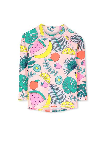 Hamilton Long Sleeve Rash Vest, PINK MAGNOLIA/FRUITY FOLIAGE