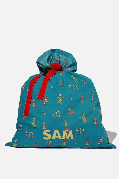 Personalised Santa Sack, LCN HAV GRINCH XMAS TREE TURTLE GREEN