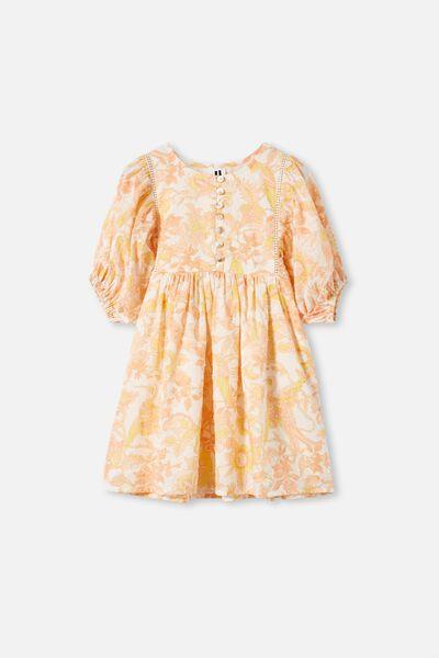 Gia Short Sleeve Dress, VANILLA/GARDEN OF BIRDS