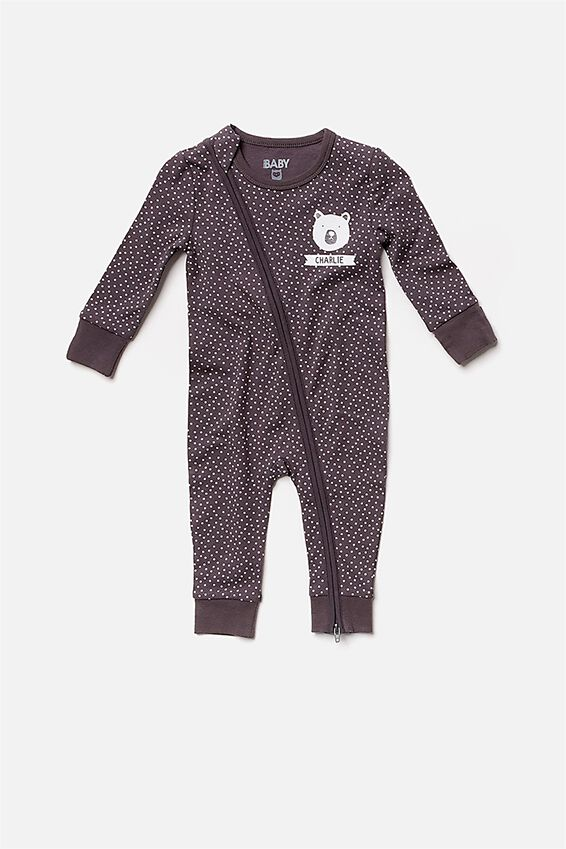 Personalised Baby Footless Romper, GRAPHITE GREY/VANILLA SPOT (PERSONALISATION)