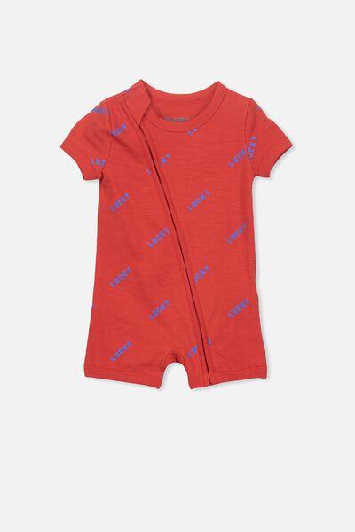 Mini Snug Short Slv Zip Through Romper, RALLY RED/LUCKY