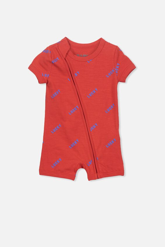 Mini Snug Short Slv Zip Through Romper, RALLY RED/LUCKY