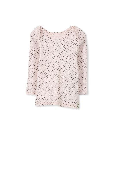 Mini Long Sleeve Rib Tee, SOFT PINK/GRAPHITE GREY SPOT