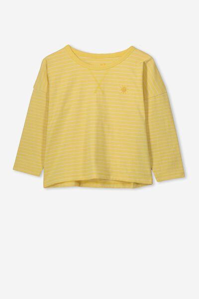 Kit Long Sleeve Top, CORN SILK/DARK VANILLA STRIPE/SUN