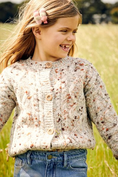 Belle Button Through Cardigan, OAT FLECK