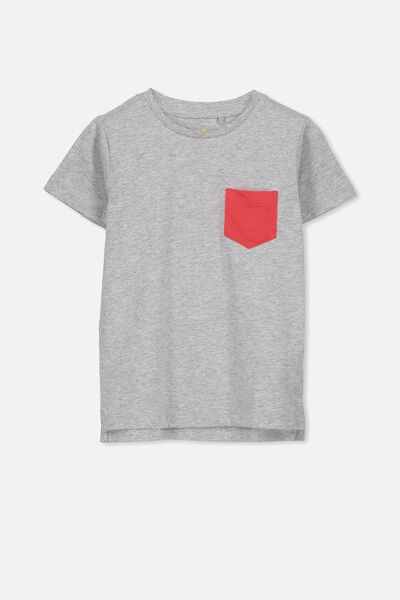 Max Short Sleeve Tee, SIS/LT GREY POCKET COIN