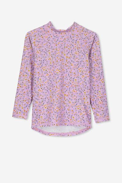 Hamilton Long Sleeve Rash Vest, SWEET LILAC DITSY