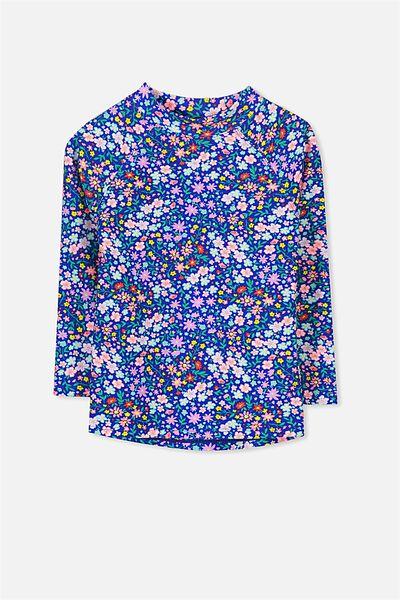 Hamilton Long Sleeve Rash Vest, PRINCESS BLUE/DITSY FLORAL