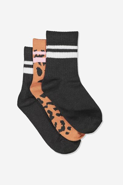 Kids 3 Pk Fashion Crew Socks, AMBER LEOPARD