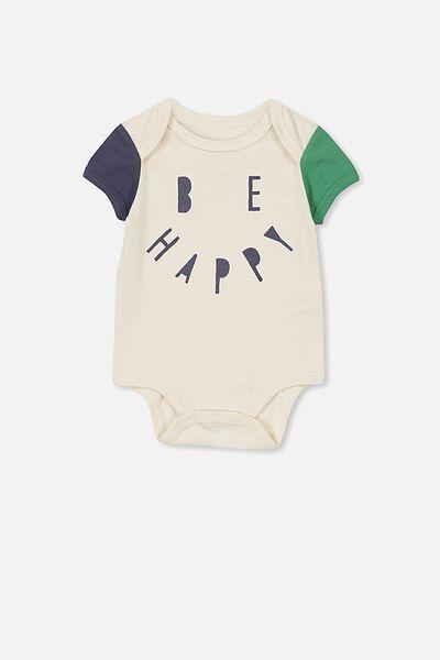 Mini Short Sleeve Bodysuit, VANILLA/BE HAPPY_XO