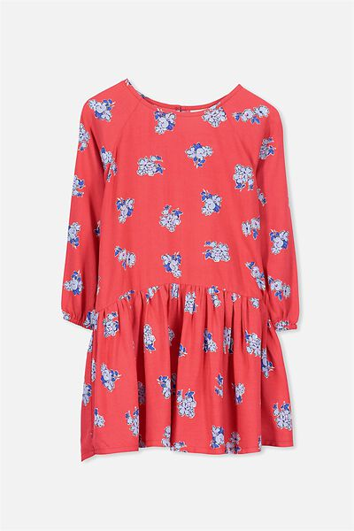 Cassandra Ls Dress, TOMATO/VINTAGE FLORAL