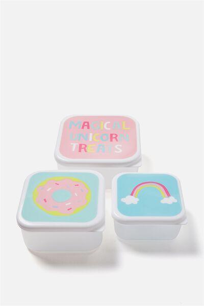 Lunch Box Set Of 3, UNICORN TREATS