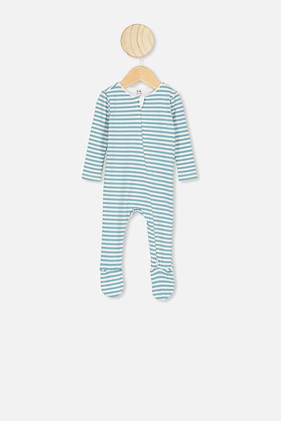 The Snug Long Sleeve Zip Romper, CHRIS STIPE WHITE/AQUA DREAM